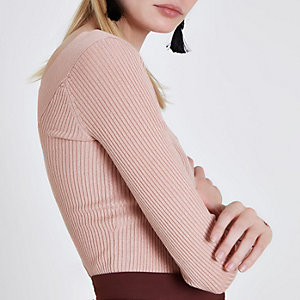 Light pink ribbed fitted V neck top