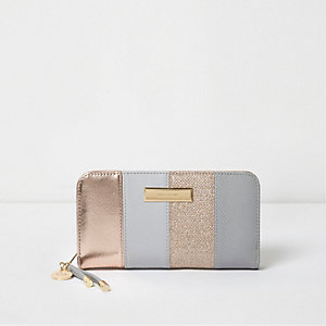 Grey and rose gold panel zip around purse