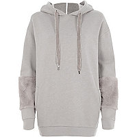 Grey faux fur cuff longline hoodie