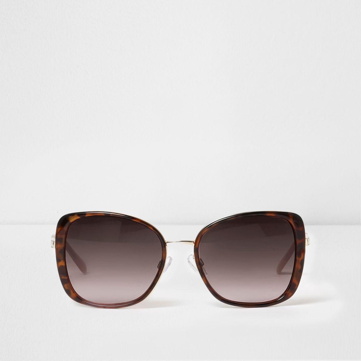 Glamorous - Lunettes de soleil oversize écailles de tortue - Marron L7Dj8