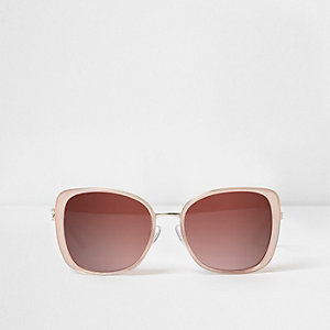 Pink plastic square frame glam sunglasses