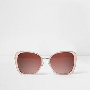 Roze glamoureuze zonnebril met plastic vierkant montuur