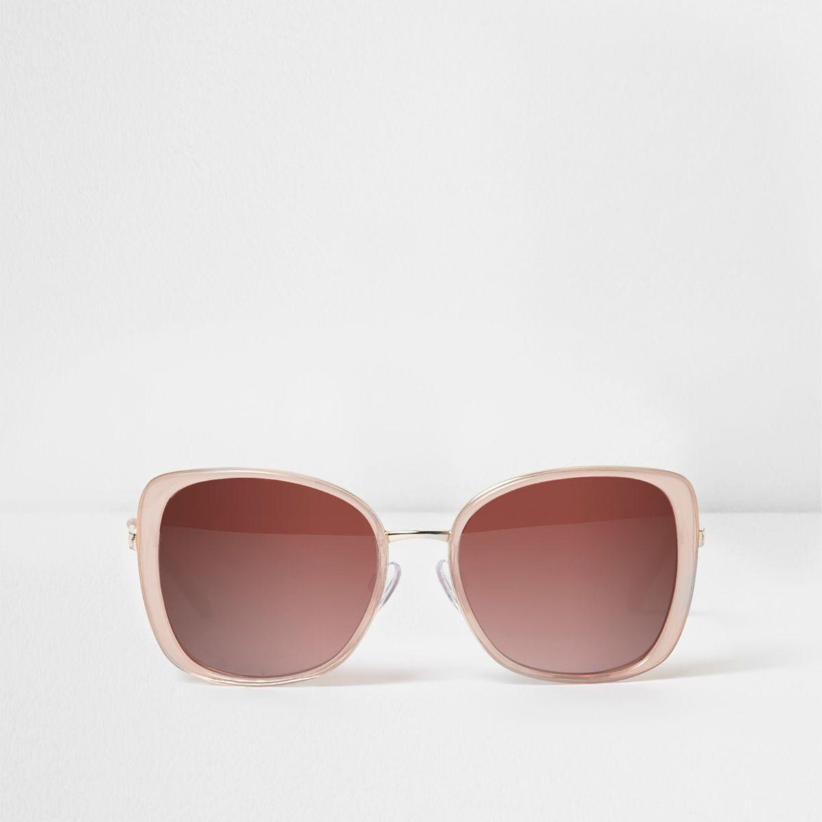 Pink plastic square frame glam sunglasses