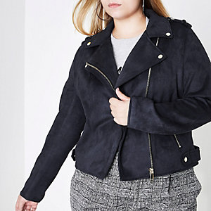 Plus navy faux suede biker jacket