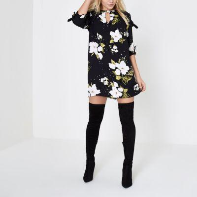 River Island Zwarte tengere jurk met bloemenprint en strik aan de mouwen