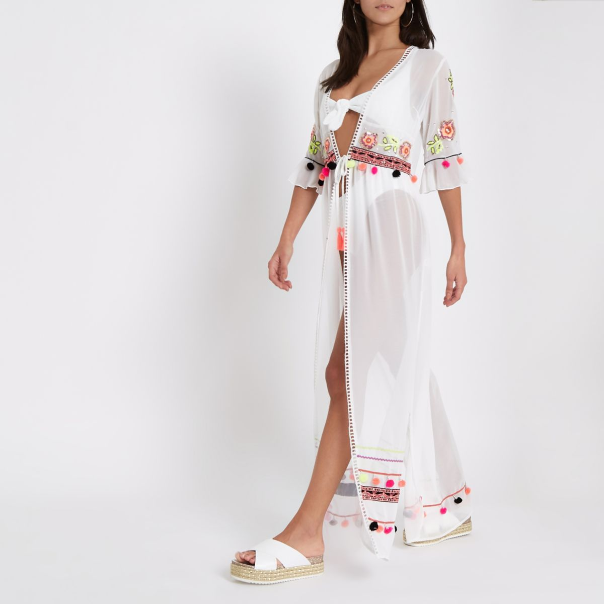 White embellished maxi beach cover up
