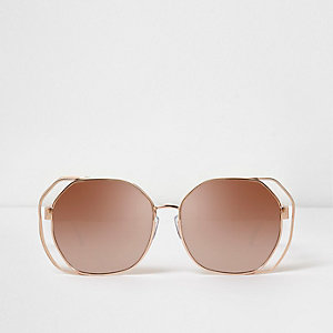 Rose gold tone wire glam mirror sunglasses