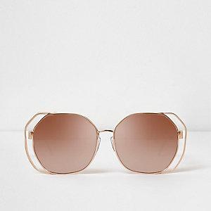 Roségoudkleurige glamour zonnebril met spiegelglazen