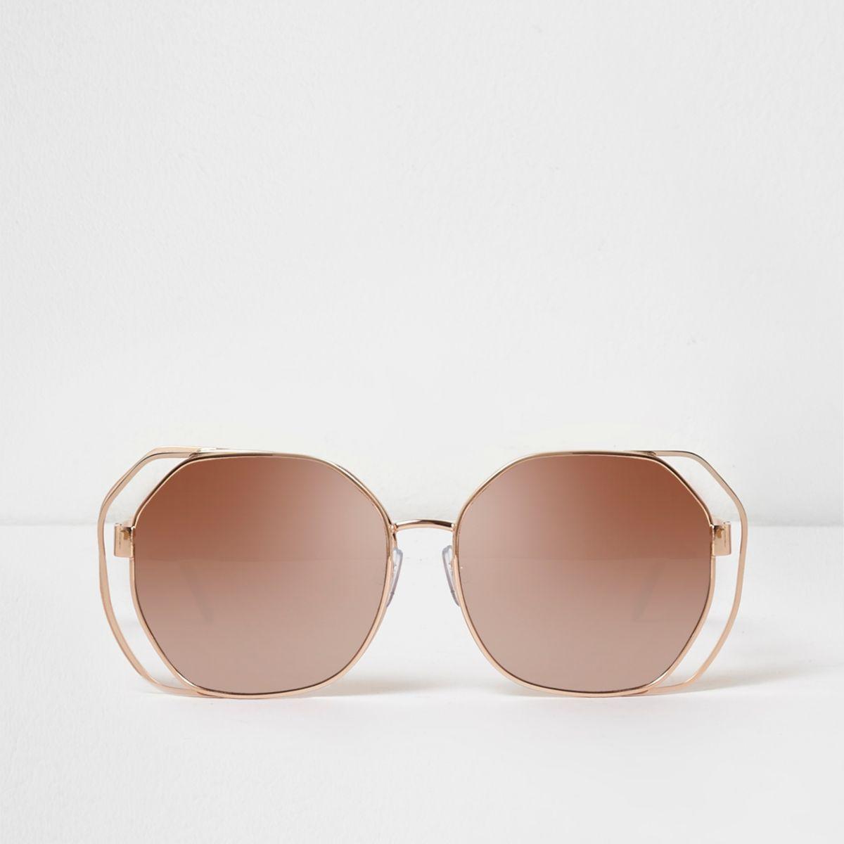 Rose gold tone wire glam mirror sunglasses
