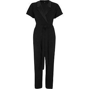 Black tailored tie waist jumpsuit