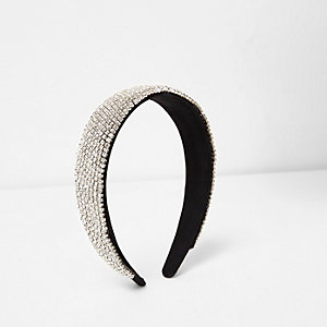 Black rhinestone encrusted hair band