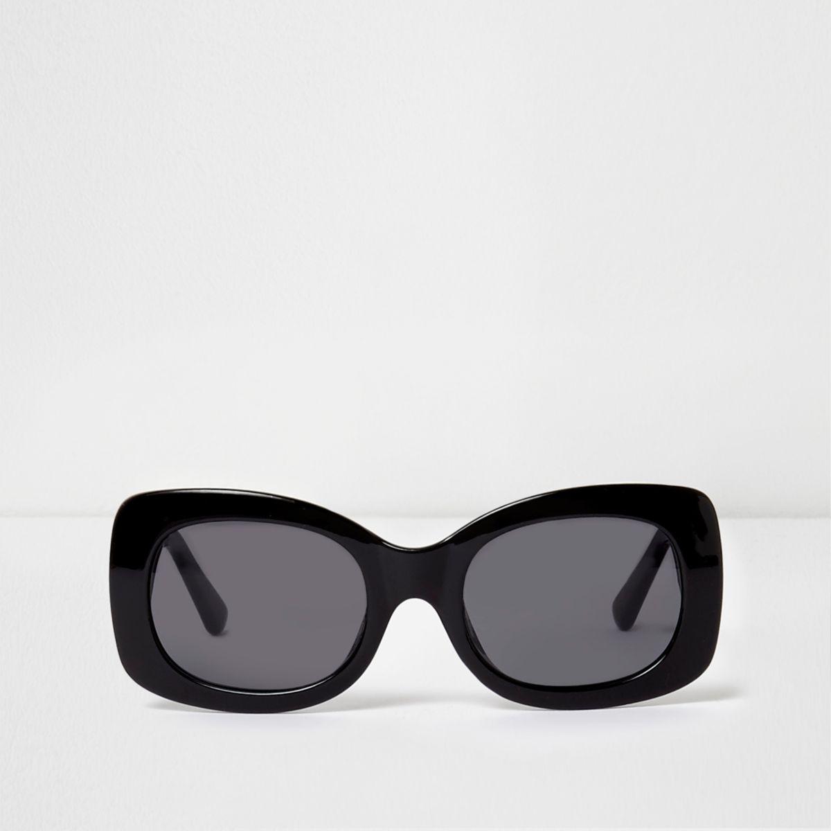 Zwarte glamour zonnebril met vierkant montuur