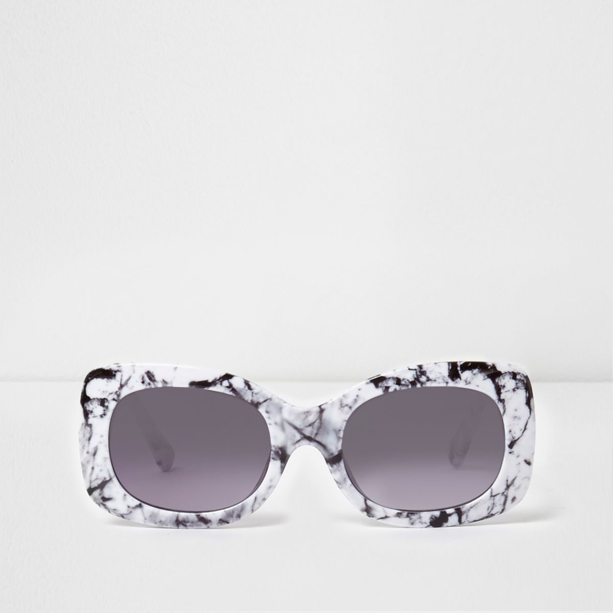 White marble square frame glam sunglasses