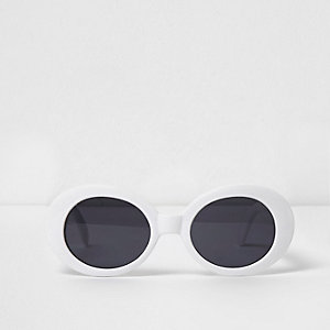 White oval smoke lens sunglasses