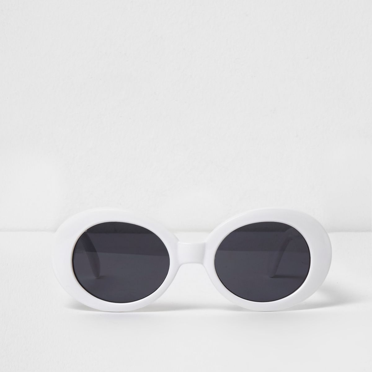 White oval smoke lens sunglasses