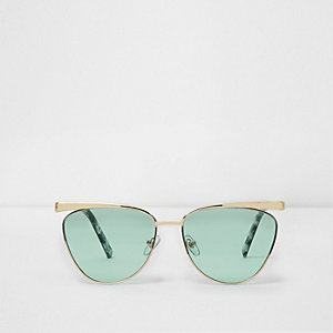 Gold tone cat eye green lens sunglasses