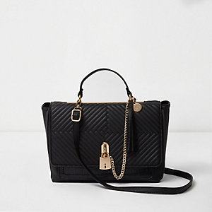Black quilted padlock chain front tote bag