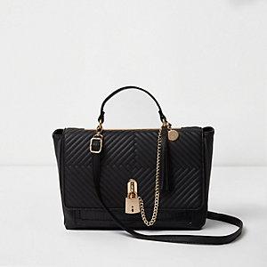 Zwarte doorgestikte handtas met hangslot en ketting
