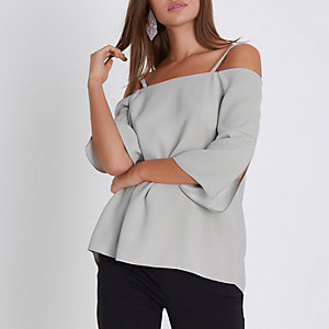 Light grey bardot split sleeve top