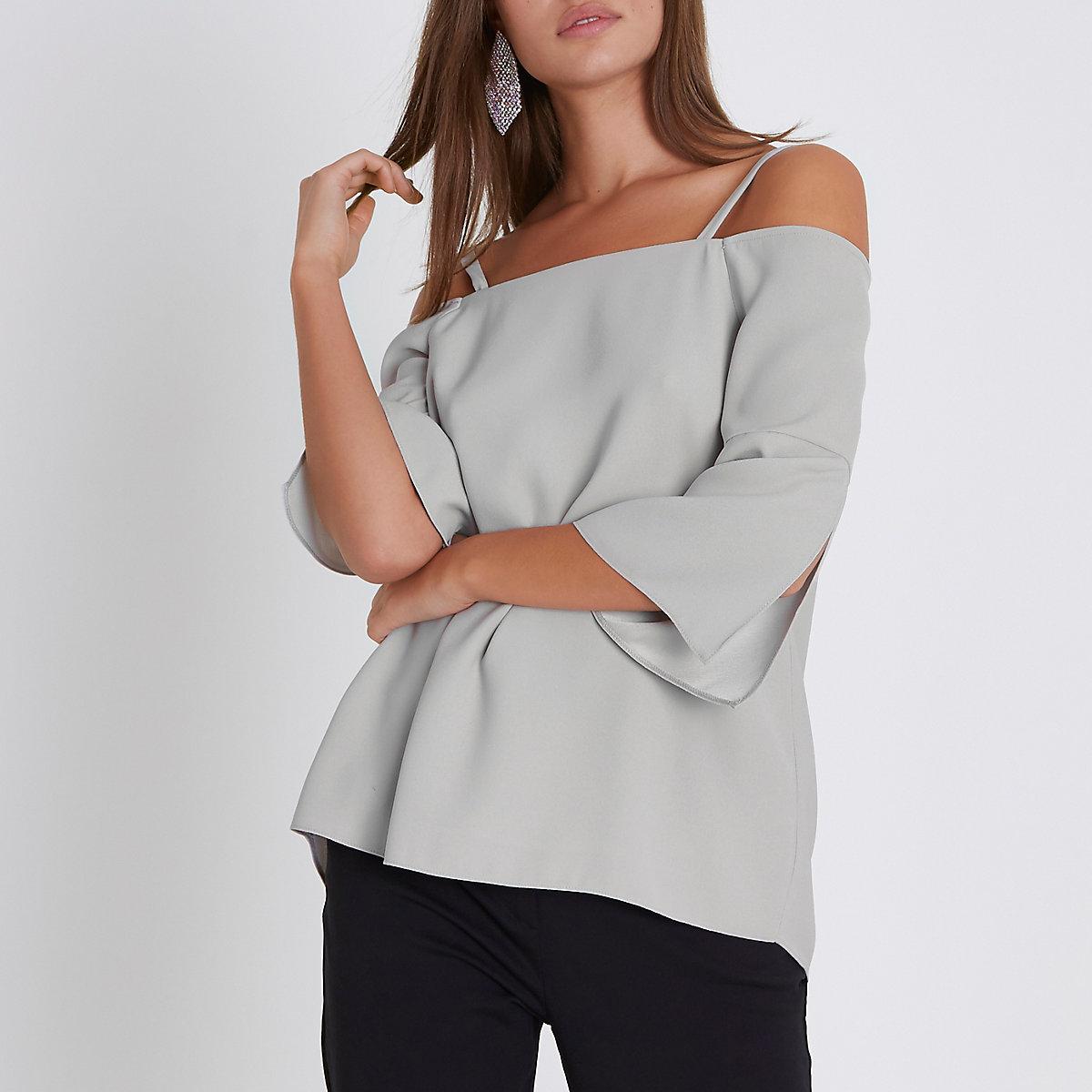 Light grey bardot split sleeve top