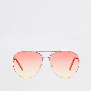 Goudkleurige pilotenzonnebril met oranje en oceaankleurige glazen