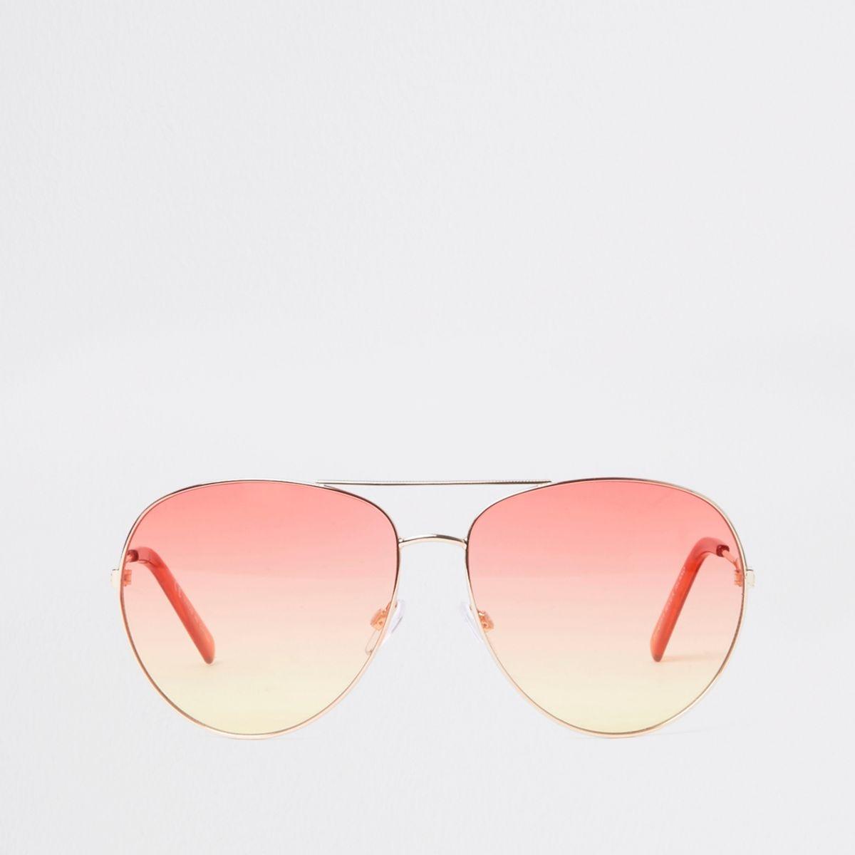 Gold tone aviator orange ocean sunglasses