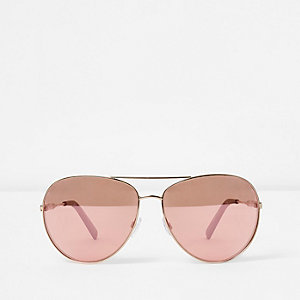 Gold tone pink lenses aviator sunglasses
