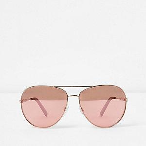 Goudkleurige pilotenzonnebril met roze glazen