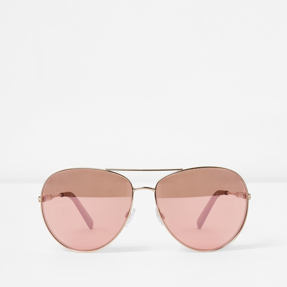 Gold tone pink lenses aviator sunglasses