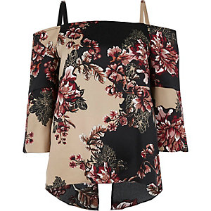 Black floral print cold shoulder top