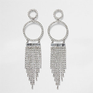 Silver tone cup chain tassel drop earrings