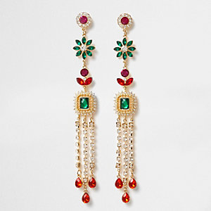 Gold tone multi colour gem dangle earrings
