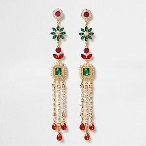 Gold tone multi color gem dangle earrings