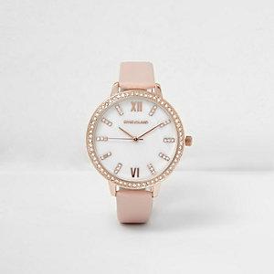 Runde Armbanduhr mit Strass