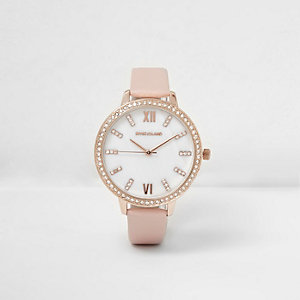 Montre ronde rose incrustée de strass