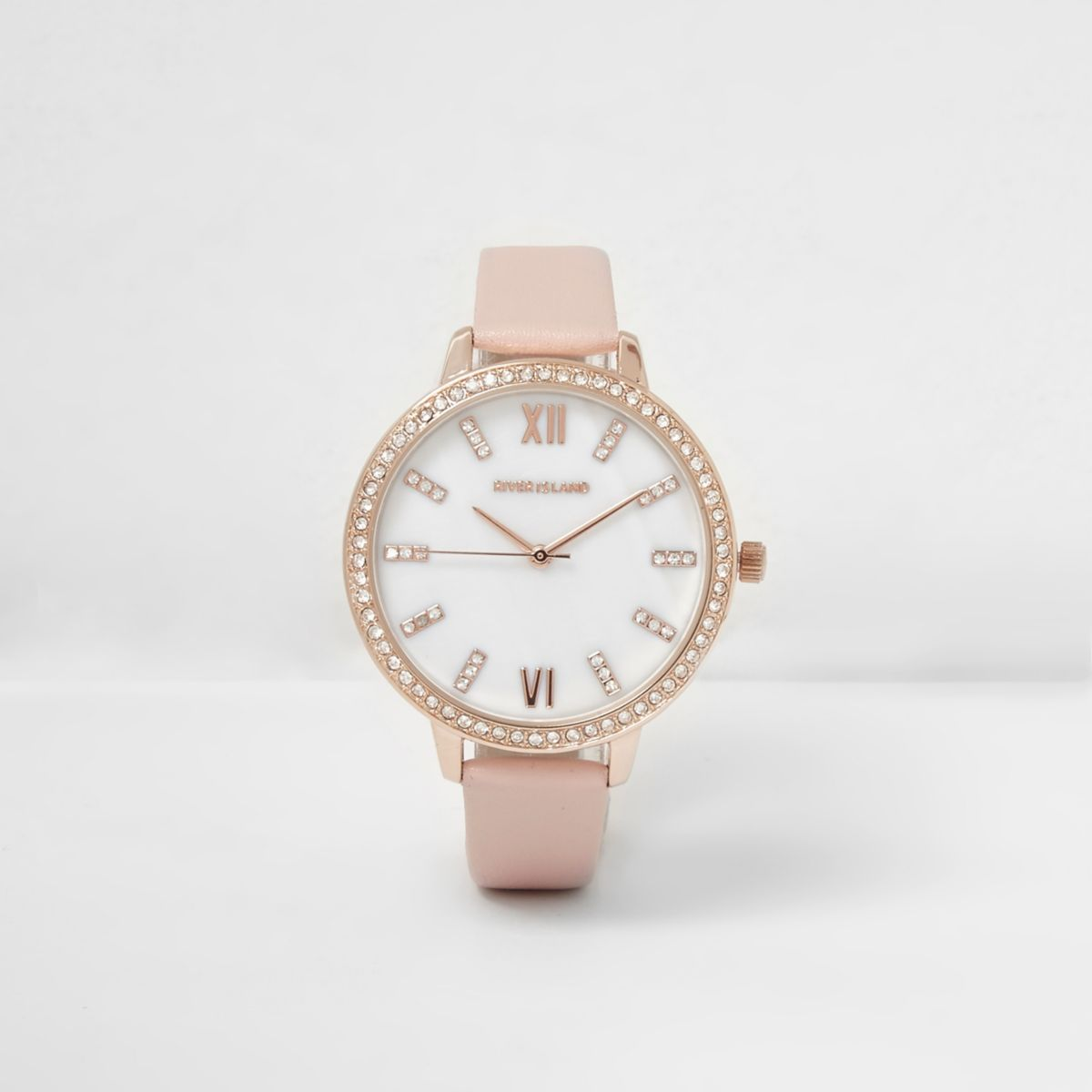 Pink rhinestone encrusted round watch