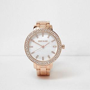 Armbanduhr in Roségold mit Diamantverzierung