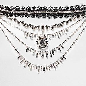 Black lace choker jewel drape necklace