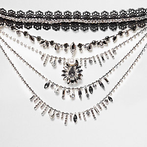 Black lace choker jewel drape necklace