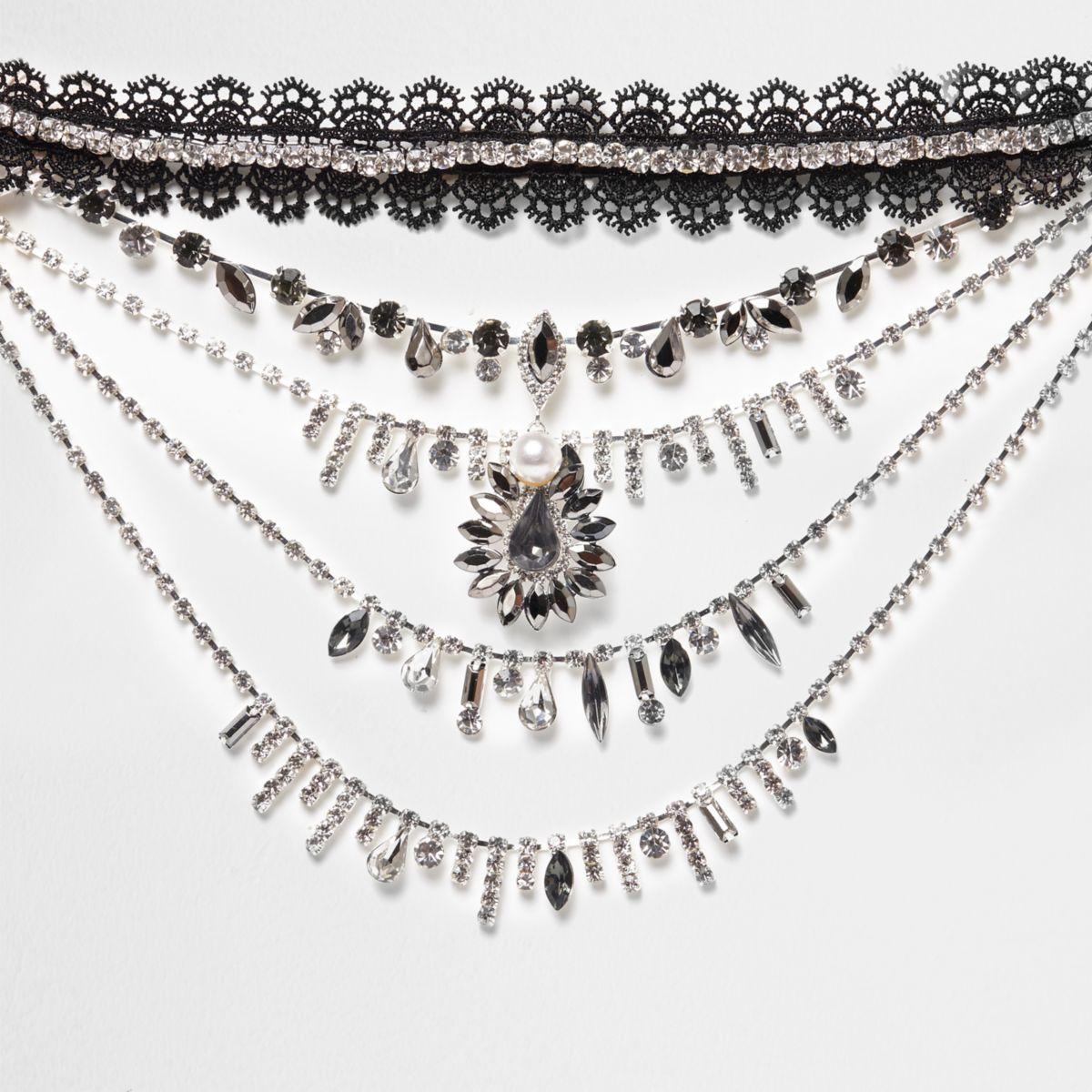 Collier ras-de-cou en dentelle noire avec pierres drapé