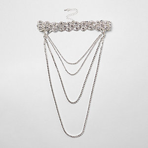 Silver tone scallop diamante multi row choker