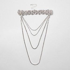 Silver tone scallop diamante multi row choker