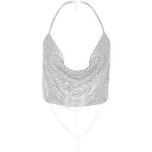 Silver tone cup chain cowl halter neck top