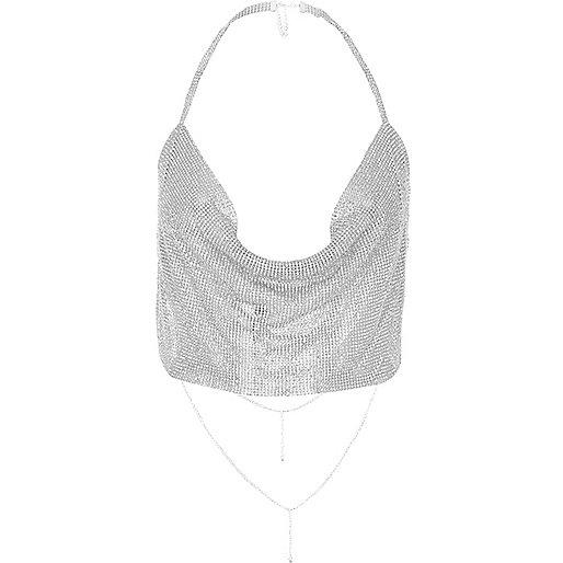 Silver tone cup chain cowl halter neck top
