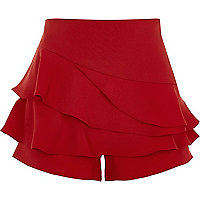 Red tiered frill structured skort