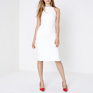 Bodycon-Midikleid in Creme mit Schleife