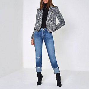Black faux pearl embellished boucle jacket