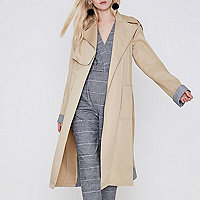 Beige check insert longline trench coat