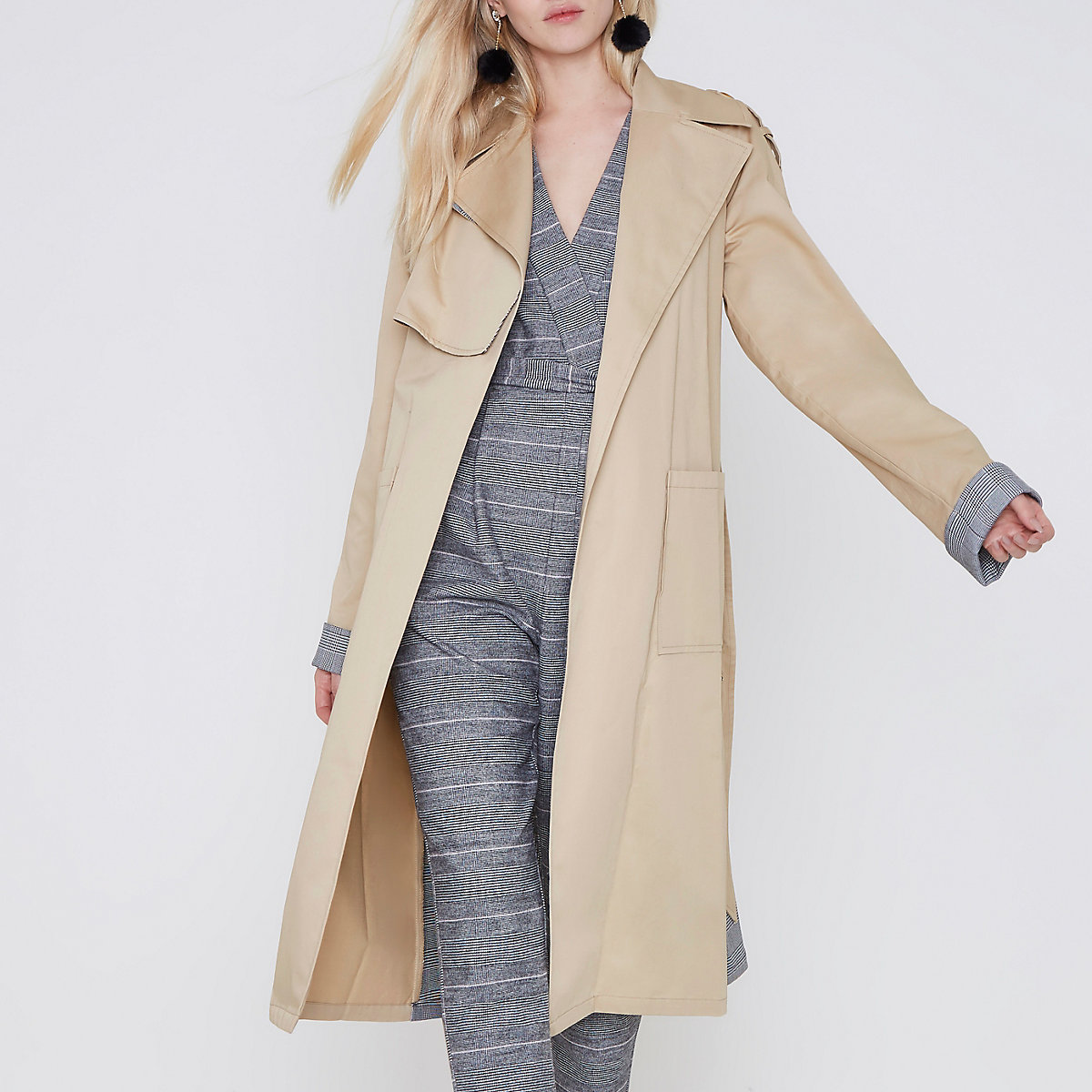 Beige check insert longline trench coat