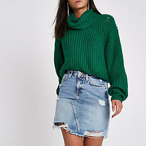Mid blue ripped frayed hem denim mini skirt